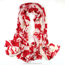 2017 new design hand painted light weight 100% wool scarf