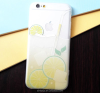 New frosted fruit case , 3D engrave fruit tea printing transparent TPU phone skin case clear case for iPhone 6s 6s plus