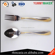 Exquisite Stainless Steel Gold Plated Cutlery Set Flatware Handle Spoon Fork