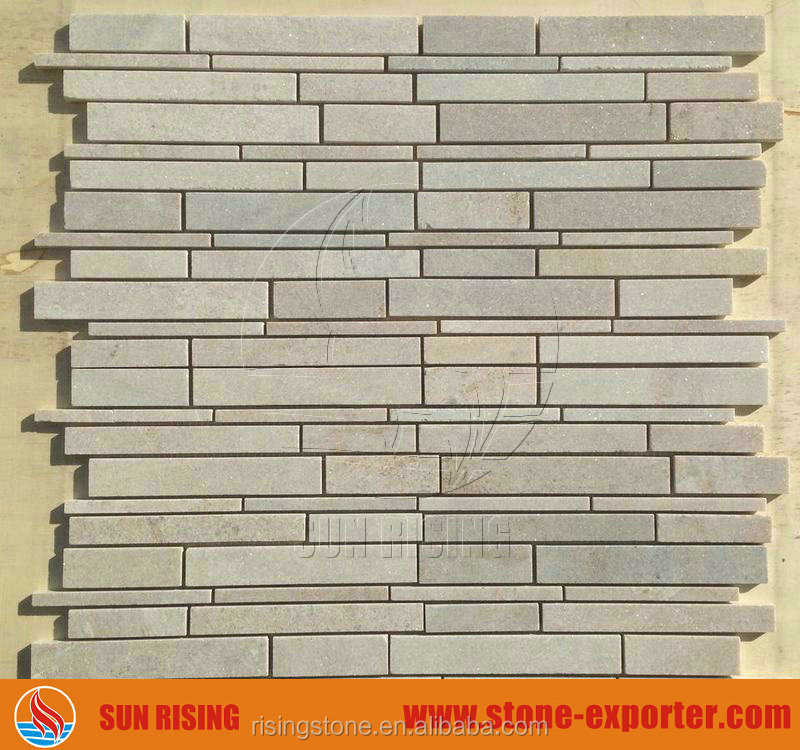 White Quartzite Stone Random Strip Mosaic Honed Finished
