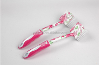 plastic kitchen printed dish brush with soft grip hanlde