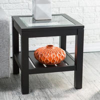 Slat Bottom Sutton Glass Top End Table