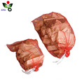 Recycled PE plastic firewood monofilament mesh drawstring bag for sale