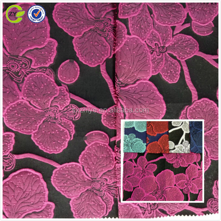 ZiYe Textile polyester rayon floral jacquard fabric for dress and garment