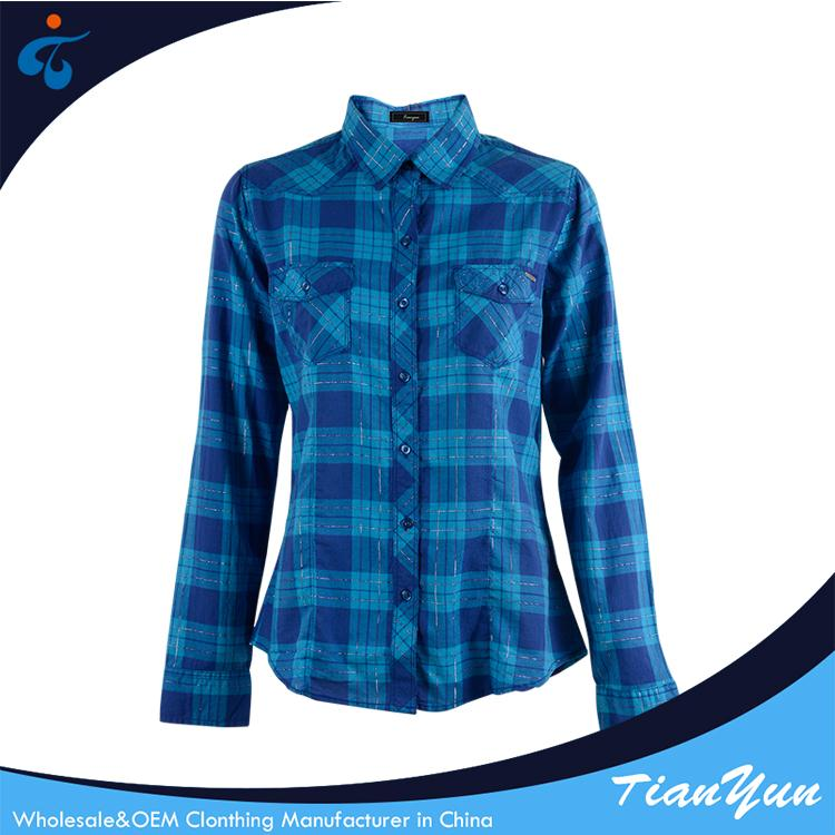 Best price of custom made plaid fashion eco-friendly latest blouses