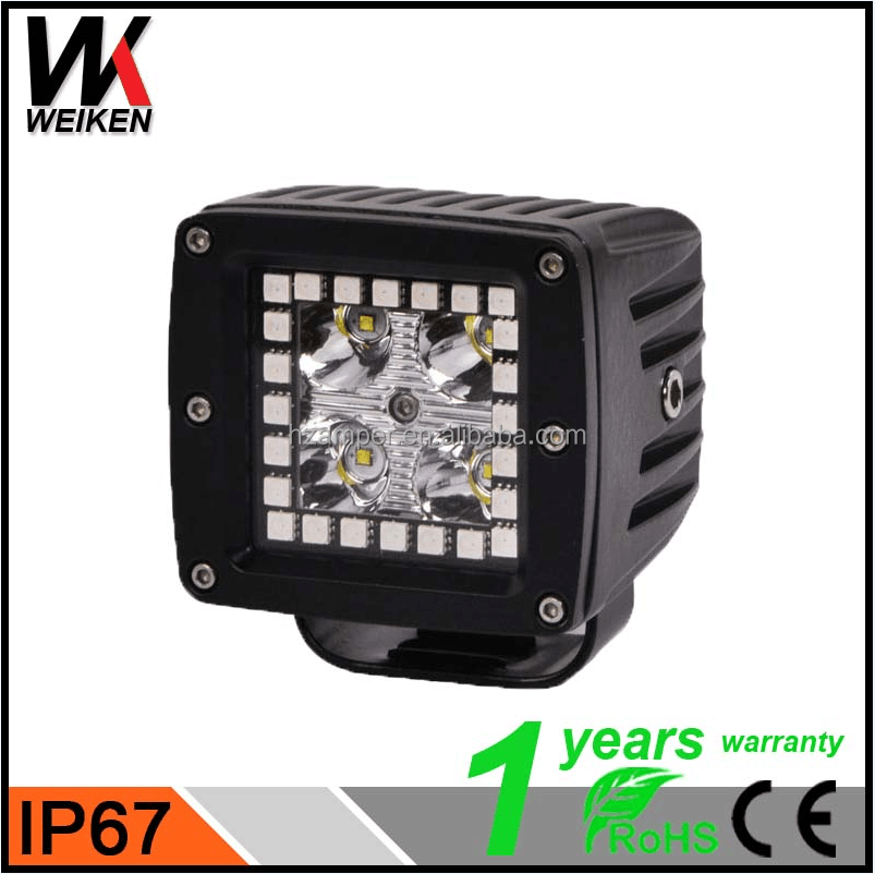 WEIKEN Best Price 12W Muti-color LED Off Road Work Light Wireless Control LED Work Light For Car Truck SUV ATV 4X4 Motorcycle