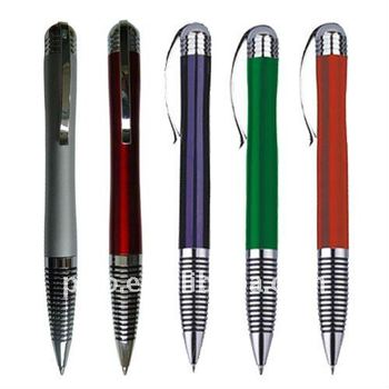 China Wholesale High Quality Spring Clip Ball Point Pen With Different Color Lacquer Finished On Sale