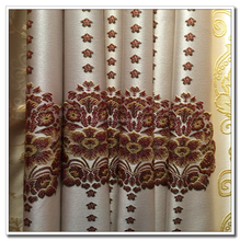 Heavy Weight Flocking Continuous Jacquard Curtain Fabric