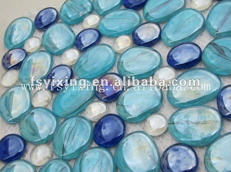 PG05 Various size multi color decorative glass pebbles garden paving mosaic