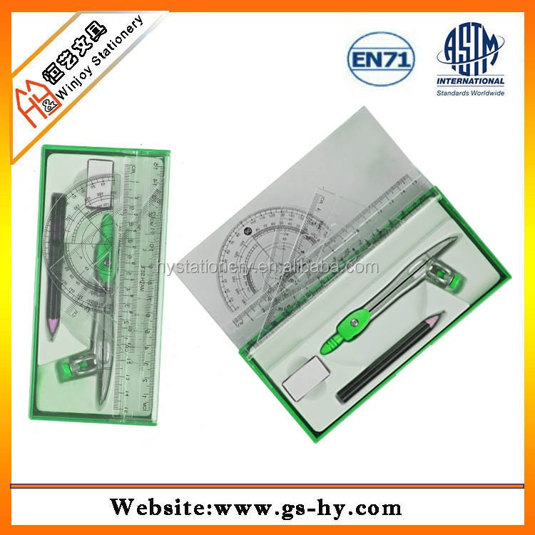 Teaching Compass Math Drafting Drawing Geometry Plastic Ruler Triangle Protractor Set