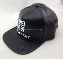 Children Black PU Leather Embroidered Baseball Caps with Snakeskin Strap