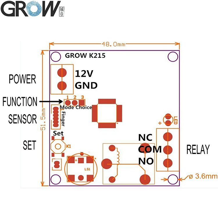 GROW K215 High Quality PCB Biometric Fingerprint Access Control Board