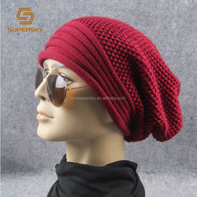 A810 Chunky Knit Baggy Hat Men Oversized Beanie Hats Slouchy Beanie Hats for Men & Women