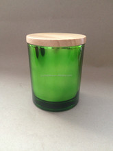 wholesale candle in glass jar and luxury glass candle jar , green antique glass candle holder with wooden lid