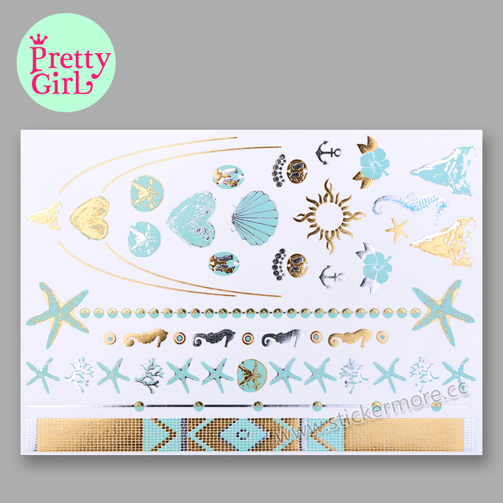 China Factory Offer Metallic Gold and Metallic Silver Temporary Tattoos PLUS, you add ANY colors to your designs! GTA-16