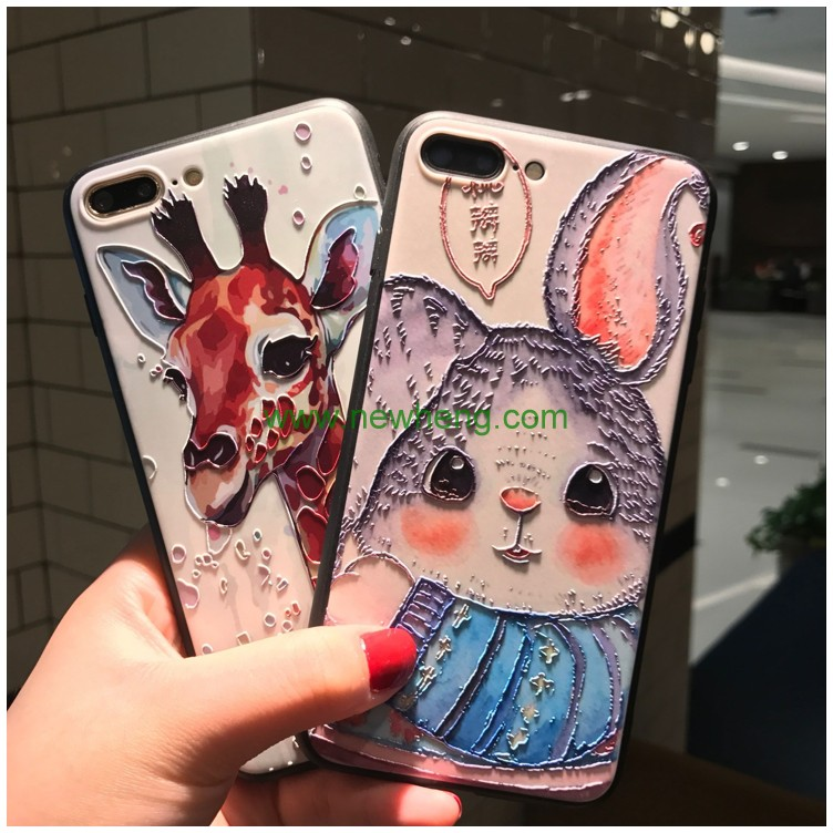 wholesale sublimation high quality 3D Relief Pattern TPU+PC Phone Case For IPhone 8