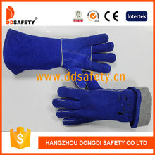 DDSAFETY Blue Cow Split Leather Working Gloves With Reinforced Palm