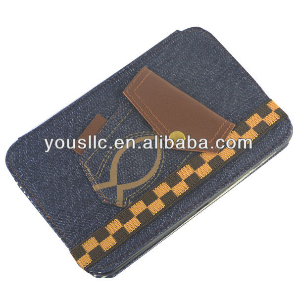 Blue Jeans Denim Folio Leather Tablet Case Cover Stand Magnetic Auto Sleep Wake for Samsung Galaxy Tab2 7.0 P3100