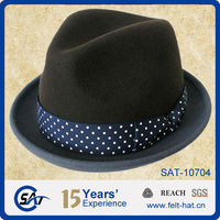 Men's fashion 100% wool felt fedora hat