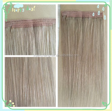 2016 hotsale haloo flip in one piece hair extension fish wire no clip in hairpiece