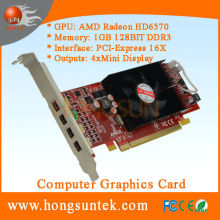 AMD ATI Radeon HD6570 PCIe 4 Mini Display ports Low Profile DDR3 1GB Multiview graphic card