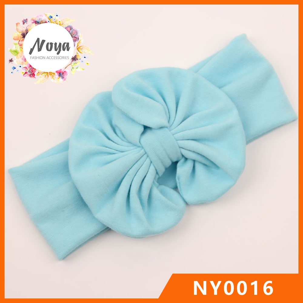 Baby Big Bow Plain Cotton Headband Knot Infant Toddler Elastic Headbands