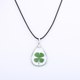 wholesale Green Lucky Four Leaf Clover Resin Pendant Necklace
