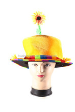 high quality bright yellow velvet santa hat cute sunflower in the top