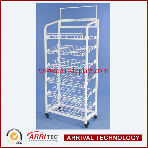 white coated mesh shelf assemling wine rack with pvc printing moving caster wire metel whiskey display shelf rack