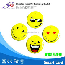 irregular emoji cute circular tag rfid keyfob card for door login