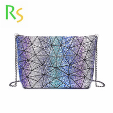 2018 new spring Geometric Splicing Plaid Shoulder Bag foldable leather bling cosmetric bag