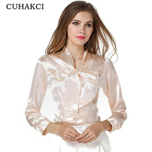 CUHAKCI 2017 Women Bow Tie Soft Blouses Formal Slim Ladies Long Sleeve Charmeuse Korean Girl's Plus Size Blouses