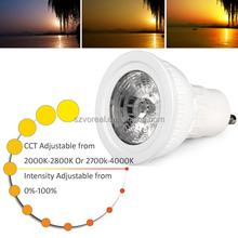 House indoor led lighting 5w gu10 cob Ra92+ cct changeable led spotlight bulb