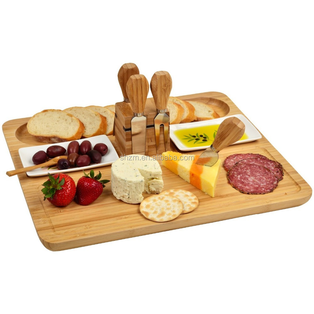 Bamboo Cheese Cutting Board Knife Set Eco-friendly Serving Tray for Crackers, Brie and Meat with Spoon&Ceramic Dish