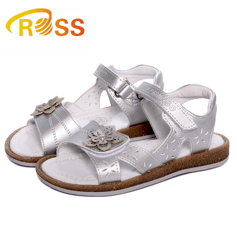 Name brand kids shoes silver girl orthopedic sandals