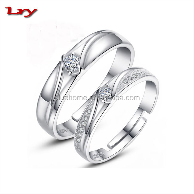 Beautiful silver zircon jewelry lovers ring opening wedding ring 30 design