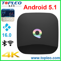 High Quality TOPLEO Q Box 2GB RAM 16GB ROM Amlogic S905 Android 5.1 2g 16g internet tv cable box