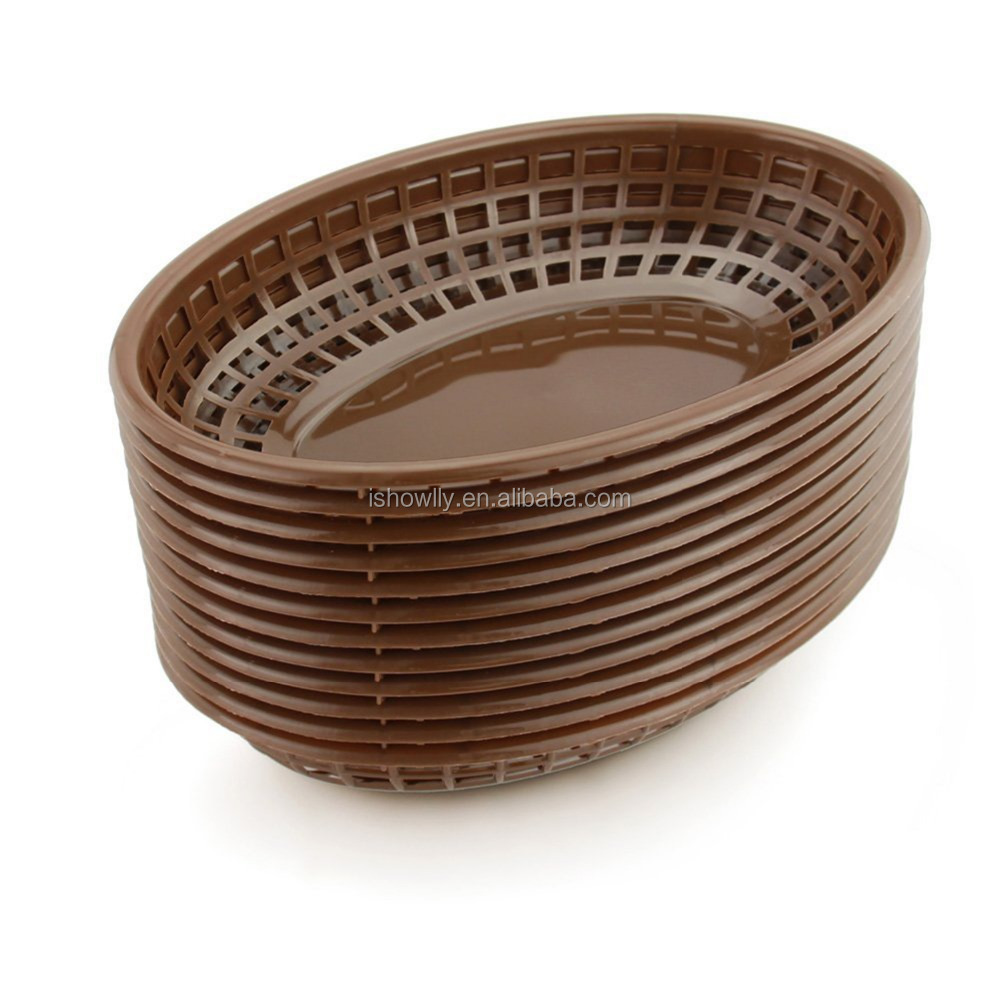 High Quality Wholesale Brown Plastic Oval Fast Food Basket Popular Bread Basket Custom Deli Serving Restaurant Diner Baskets