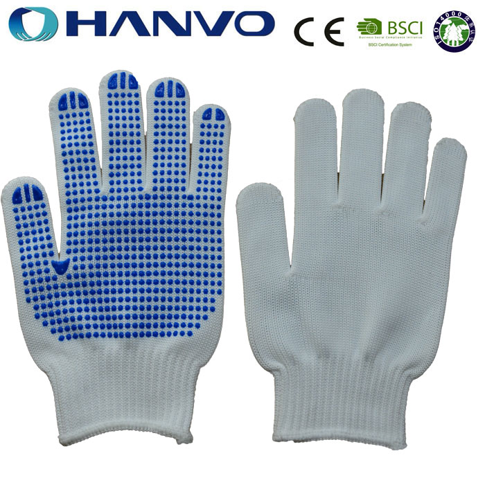 HANVO Single Side Blue PVC Dotted Cotton Hand Gloves