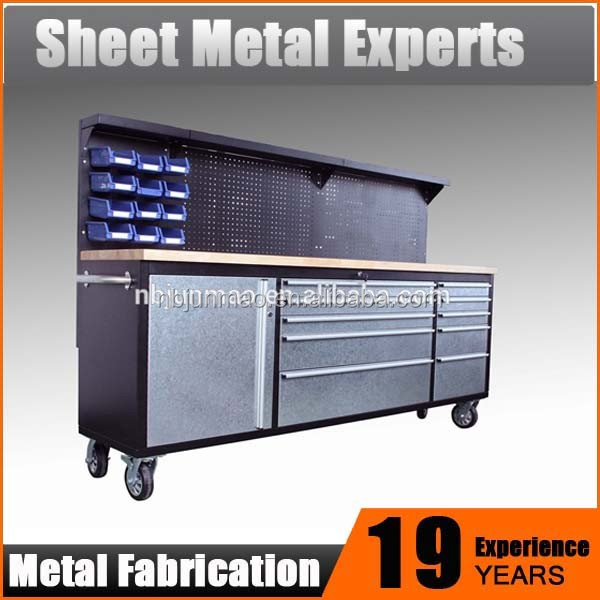 "High Quality 84"" Stainless Steel Tool Box Chest Roller Work Bench Cabinet with rubber wood worktop"