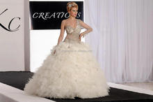 custom make middle east popular design one sleeve heavy beading wedding gown #OW127