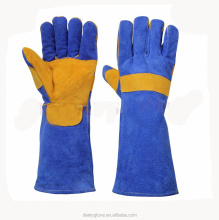 chrome leather double palm long welding glove