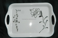 Chinese style sketch printed flower melamine handled melamine food serving tray plastic fast food tray
