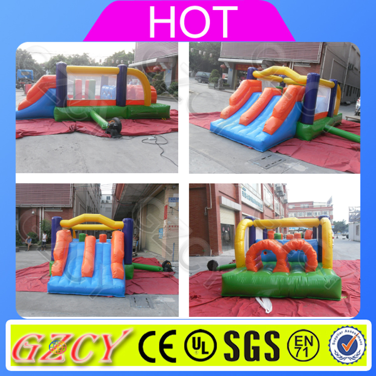 Kids colorful indoor n outdoor used inflatable jumping house obstacle course for sale