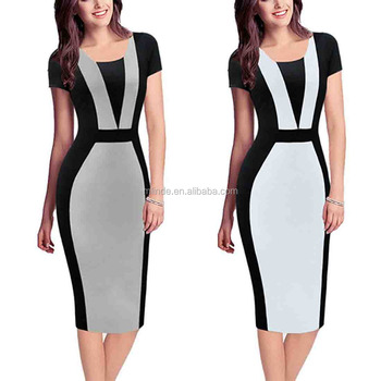 Women Summer Round Neck Business Working Cocktail Party Bodycon