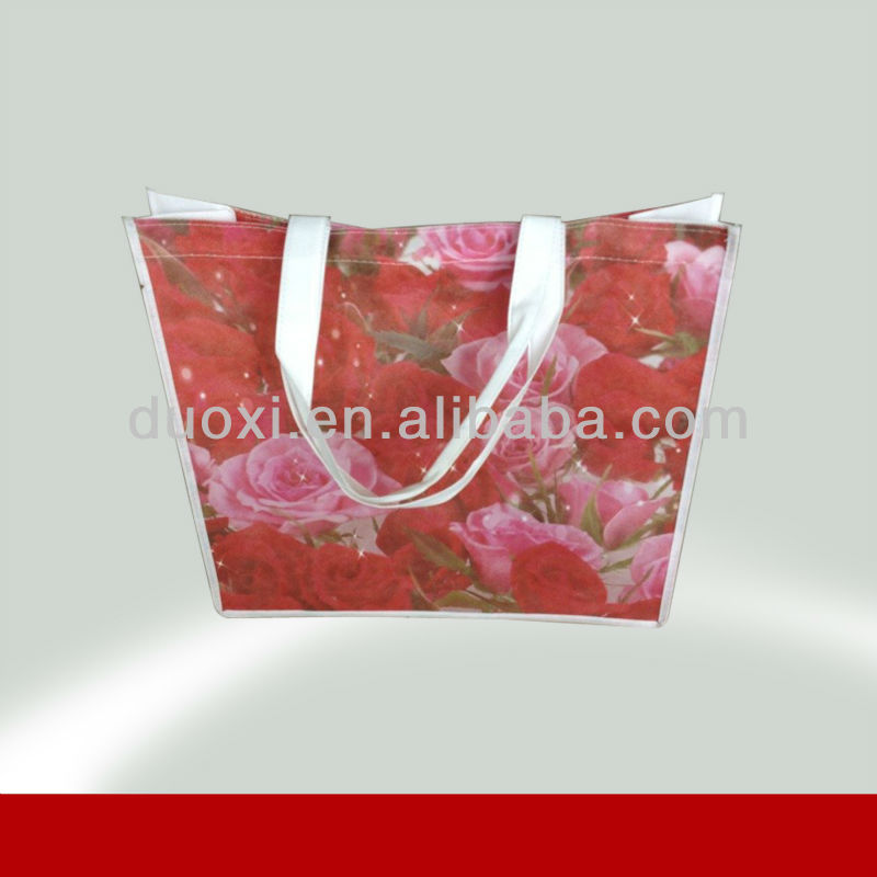 Promotion groce romantic red rose laminated shopping bag 100% manufacturer