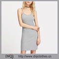 New arrivals Summer girls casual sexy Grey Sleeveless Spaghetti Strap Scoop Neck Ribbed Cami Dress