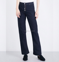 Women's best denim factroy organic cotton high-rise kick-flare jeans