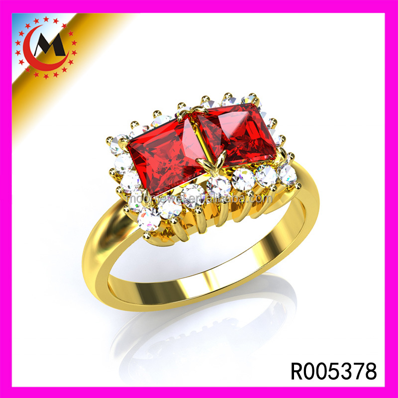 Wholesale Jewellery Cubic Diamonds Ruby Stone 24K Ring Heavy Gold Jewellery Designs