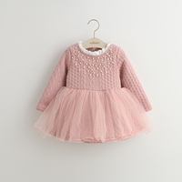 Wholesale fashinable winter long sleeve beaded baby girls tulle princess dress